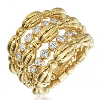 5 BANDS OF 18K YELLOW GOLD AND DIAMONDS RING