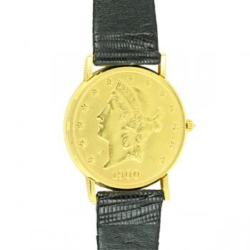 Backside view - $20 18K Gold coin front and back -Quartz, black lizard strap and Sapphire Crystal.