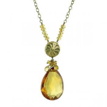 Stunning briolette-cut Citrine pendant accented with Citrine rondelle stations spaced one inch apart on a 20� chain.