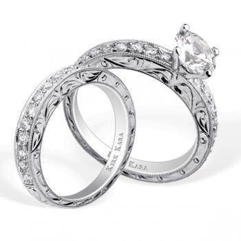 Diamond hand engraved engagement ring and matching band
