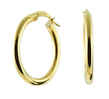 Stylish, contemporary 18K Yellow Gold 27MM earrings