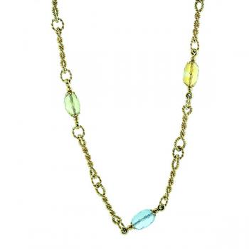 Charming twisted link necklace accented with colored gemstones