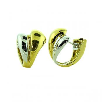 Gorgeous Yellow and White Gold double hoop earrings