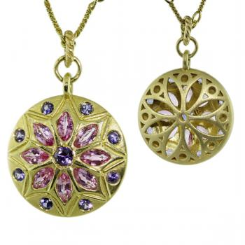 Contemporary Fancy Pink and Purple Sapphire fleur pendant necklace with a striking finished back
