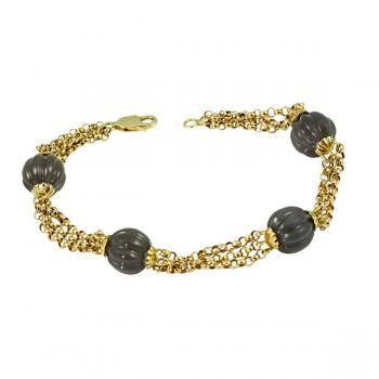Unique 14K Gold bracelet with four hand-carved Jade stones