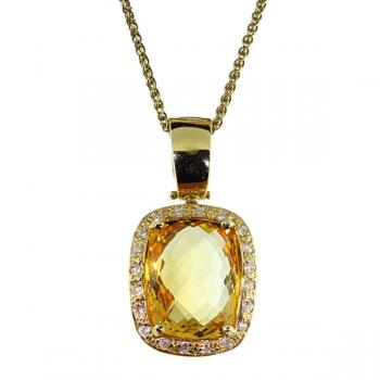 Magnificent Citrine pendant bordered with Diamonds