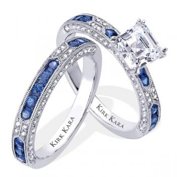 exquisite designer diamond and sapphire engagement ring with matching band - Colored Wedding Rings