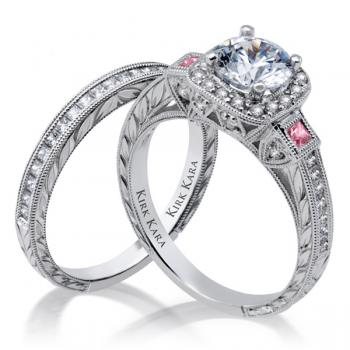 Diamond hand engraved engagement ring with Pink Sapphires; Diamond matching band