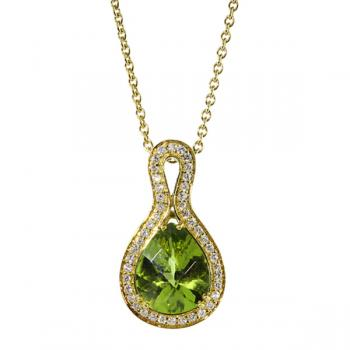 Lustrous Peridot pendant circled with Diamonds