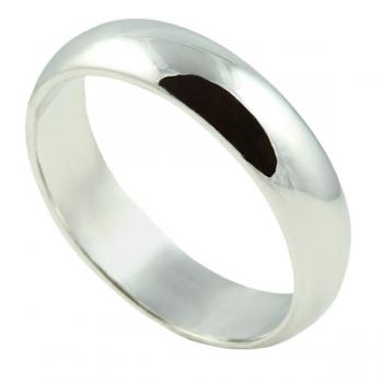 Classically simple 5MM White Gold man's wedding band