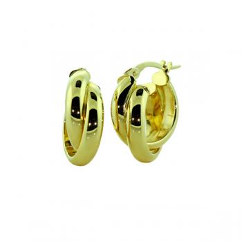 Stylish Yellow Gold 12mm double crossover earrings