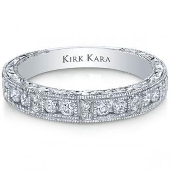 Impressive hand-engraved Diamond and White Gold ladies' wedding band