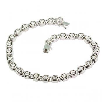 Sophisticated octagon link White Gold and Diamond bracelet