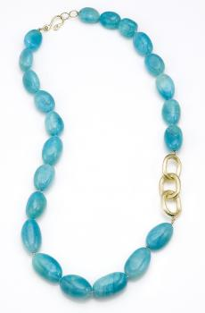 AMAZONITE AND YELLOW GOLD NECKLACE