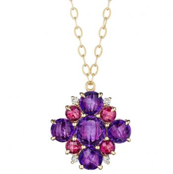 AMETHYST, RHODOLITE AND DIAMOND CLUSTER NECKLACE