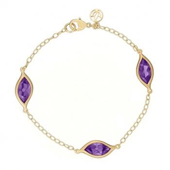 AMETHYST AND 18K YELLOW GOLD BRACELET