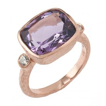 AMETHYST AND DIAMONDS IN ROSE GOLD RING