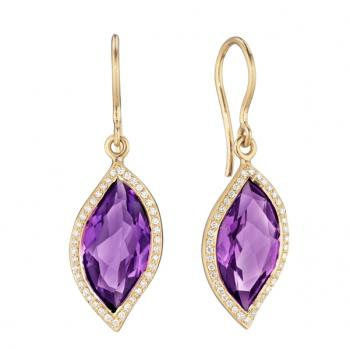AMETHYST AND DIAMOND PAVE EARRINGS