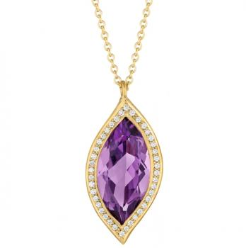 AMETHYST AND DIAMOND PAVE PENDANT NECKLACE