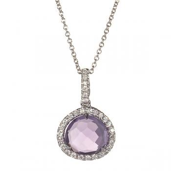 AMETHYST AND DIAMOND WHITE GOLD PENDANT WITH CHAIN