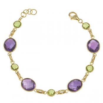 AMETHYST AND PERIDOT GOLD BRACELET