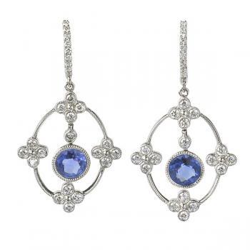 Elegant, dangling Diamond and Iolite earrings set in 18K White Gold
