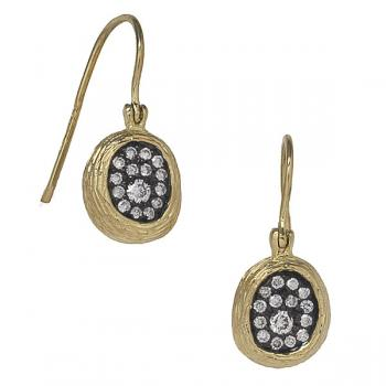 DIAMONDS ON BLACK EARRINGS