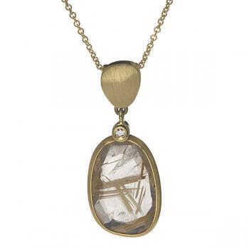 GOLD ENCASED STONE NECKLACE