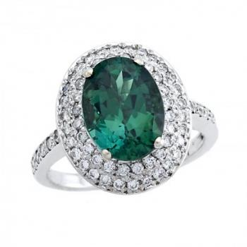 African Green Tourmaline and Diamond Ring