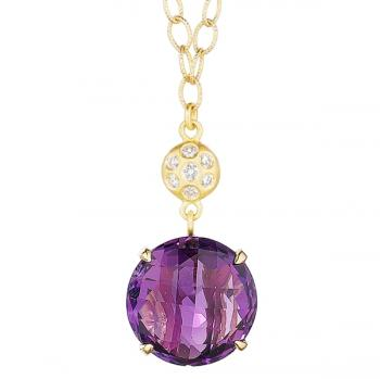 Amethyst and Diamond 18K Gold Drop Necklace