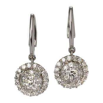 BEAUTIFUL HALO SET DIAMOND EARRINGS IN WHITE GOLD