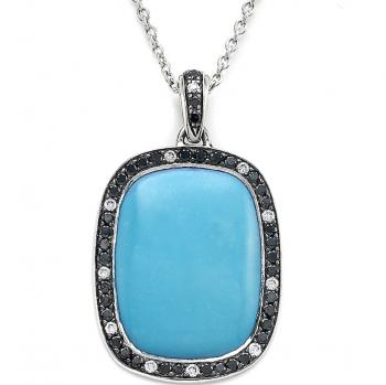 BLUE AMAZONITE AND BLACK DIAMOND NECKLACE