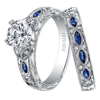 BLUE SAPPHIRE AND DIAMOND ENGAGEMENT RING SET