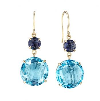 BLUE TOPAZ, IOLITE AND 18K GOLD DROP EARRINGS