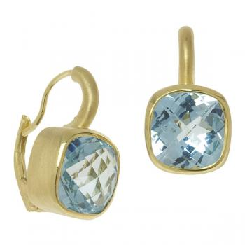BLUE TOPAZ AND 14K YELLOW GOLD EARRINGS