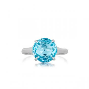 BLUE TOPAZ AND 18K WHITE GOLD RING
