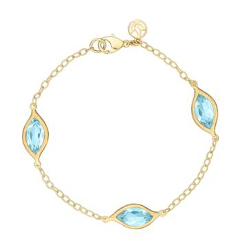 BLUE TOPAZ AND 18K YELLOW GOLD BRACELET