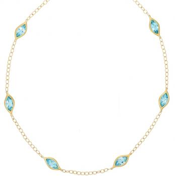 BLUE TOPAZ AND 18K YELLOW GOLD NECKLACE