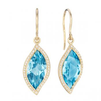 BLUE TOPAZ AND DIAMOND PAVE EARRINGS