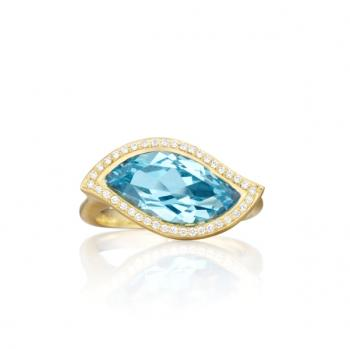 BLUE TOPAZ AND DIAMOND PAVE RING