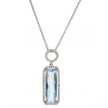 BLUE TOPAZ AND DIAMOND PENDANT NECKLACE