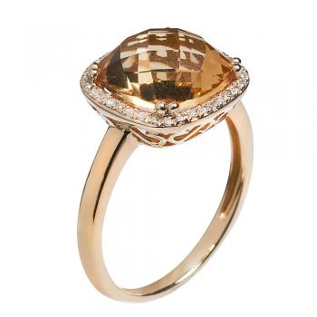 BRIOLETTE CUT CITRINE 14K GOLD RING