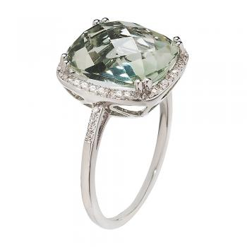 BRIOLETTE CUT GREEN QUARTZ AND WHITE GOLD RING
