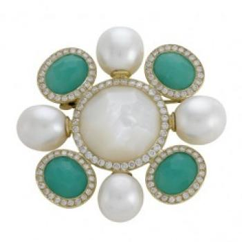 Beautiful Chrysoprase, Pearl and Diamond Pin