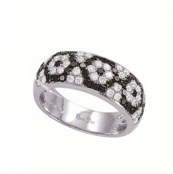 Black and White Diamond Flower Ring