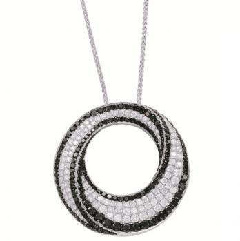Black and White Diamond Pendant Neclace