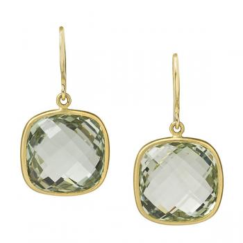 18K Gold Green Quartz Earrings