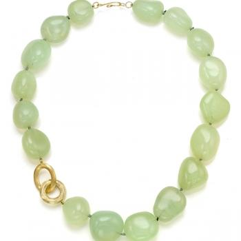 CHALCEDONY AND 18K GOLD NECKLACE