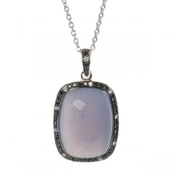 CHALCEDONY AND BLACK DIAMONDS PENDANT NECKLACE