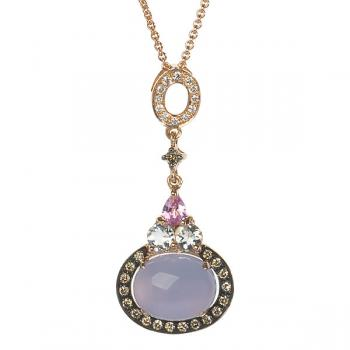 CHALCEDONY AND PINK SAPPHIRE PENDANT